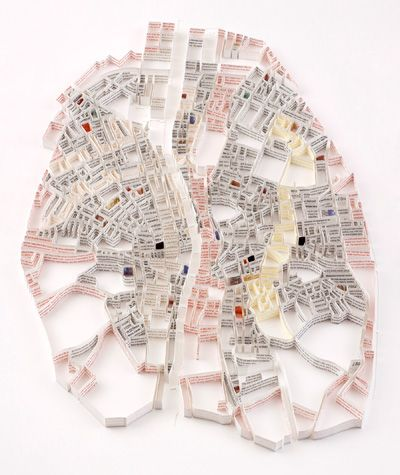 Matthew Picton makes sculptural maps of cities out of books about the respective city (here: Dublin in 1904, created from James Joyce's Ulysses)