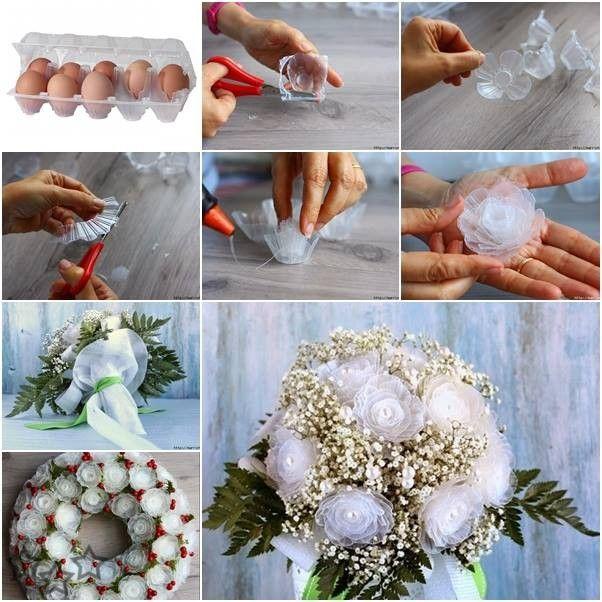 Tutorial para hacer unas bonitas flores con las cajas de huevos de plástico. Una buena forma de reciclar las cajas de huevos de plástico que muchas veces acaban en la basura.                                                                                                                                                                                 Más