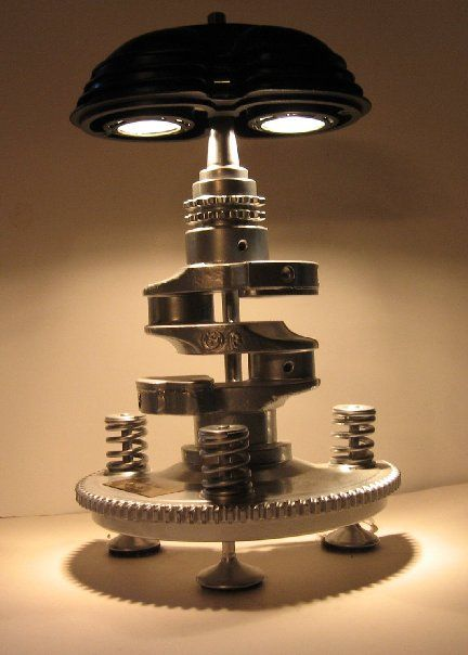 """The late great Al Vangura's classic BMW motorcycle valve cover and crankshaft lamp. Currently owned by """"Snowbum"""" Bob Fleischer."""