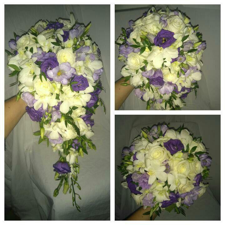 Převislá svatební kytice...eustoma, frézie,růže,dendrobium. Vyrobeno v květinovém studiu Trendy florist s.r.o.