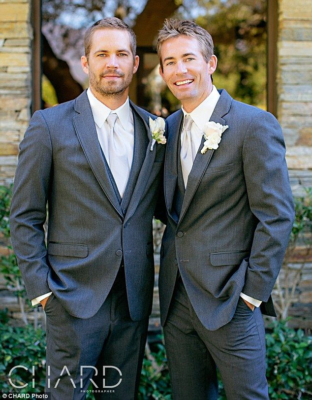 Poignant: One of the last pictures of Paul Walker, as he celebrated the wedding of his beloved younger brother Caleb in October 2013