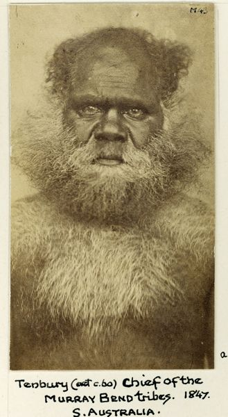 """Photographs of Indigenous Australians around the world."" Kate Ross. Photo: Upper body portrait of an aboriginal man, identified as Tenberry (or Tenbury), and described as 'Chief of the Murray Bend tribes', before 1855, 10 x 5 cm; black and white photograph, Courtesy Pitt Rivers Museum"