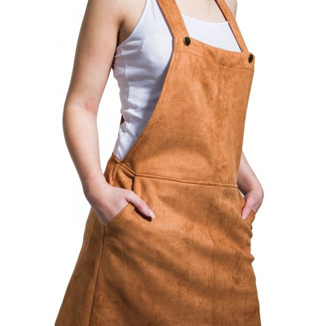 Faux Suede Dungaree Dress - Brown