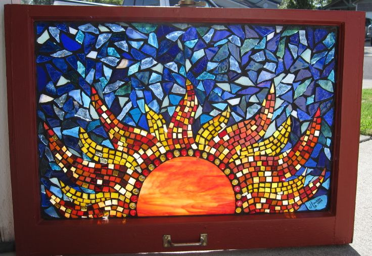 Stained Glass Mosaic Red Sun  by ~reflectionsshattered