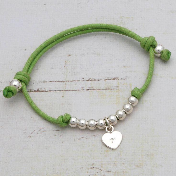 Childrens personalised friendship bracelet heart charm