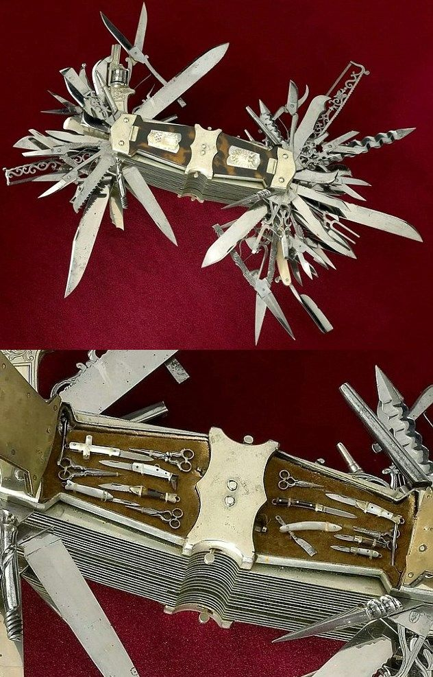 A device described as the 'mother of all Swiss Army knives' has gone on display, which features more than 100 tools - including a gun. The incredible multi-tool boasts everything from a piano tuner to a .22-caliber revolver. Owned by the Smithsonian Institution and on display at the Buffalo Bill Centre of the West in Wyoming, USA, the 'handy pocket knife' is just the tool for the typical 19th century gentleman.
