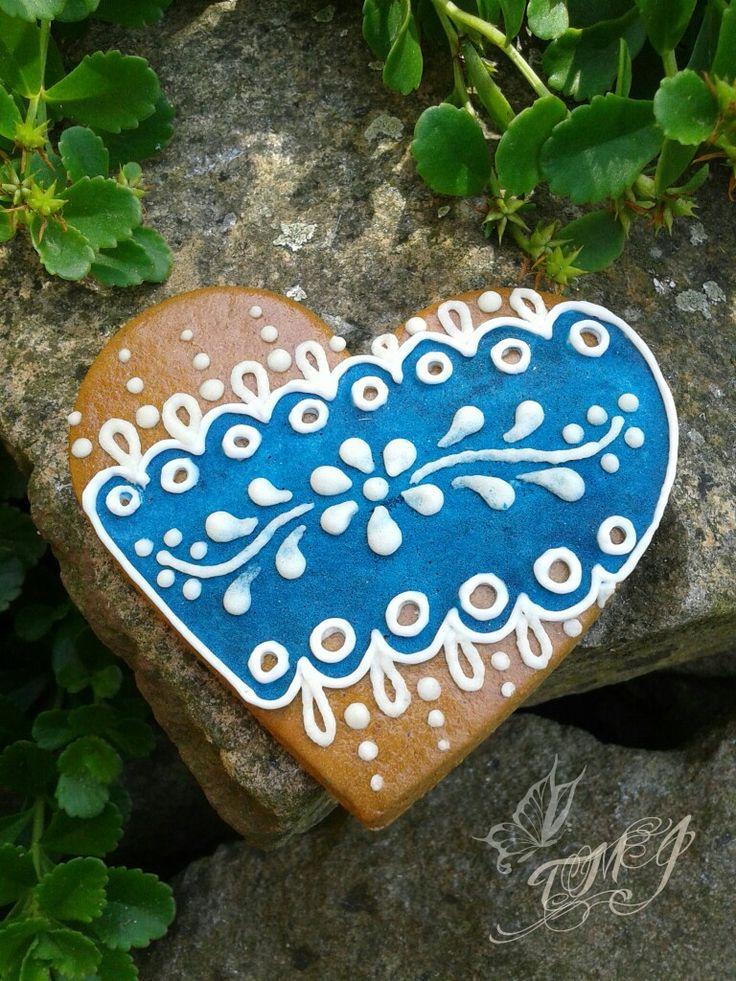 Kékfestő jellegű mézeskalács szív by TMJcreative.