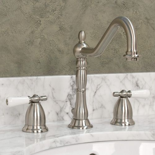 Victorian widespread bathroom faucet small porcelain lever handles victorian lavatory for Victorian style bathroom faucets