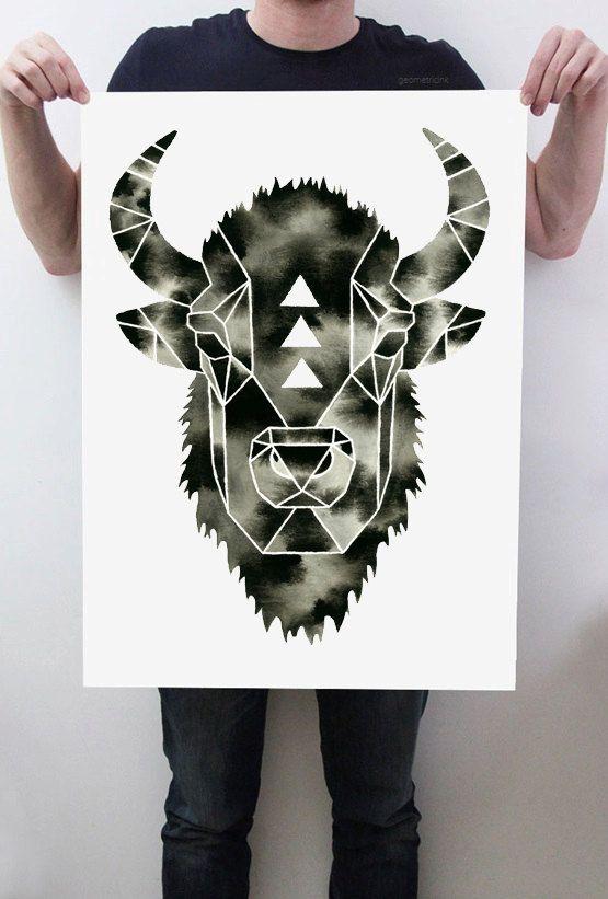 Watercolor Bison Painting Buffalo Art Geometric by GeometricInk
