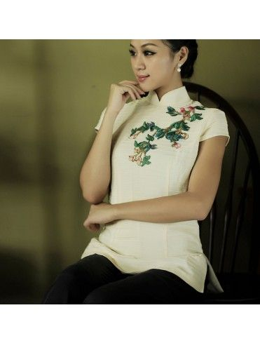 #7232129 #AnnularRings #Qipao #Cheongsam -Traditional Elegant White Tops in Chinese Qiao Style with Chinese Exqusite Embroidery - qipao,  cheongsam qipao,  qipao cheongsam,  qipao dress,  qipao dresses,  chinese qipao,  qipao china,