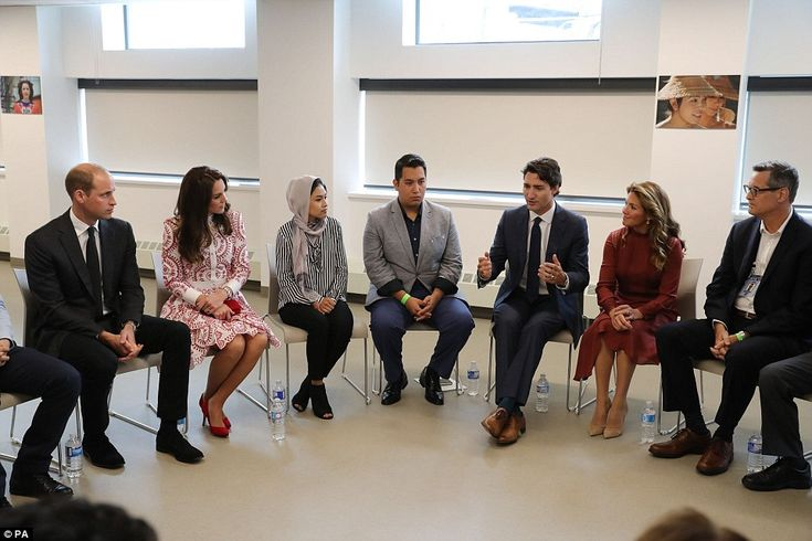 Prime minister Justin Trudeau, third from left, and his wife Sophie join the Duke and Duch...