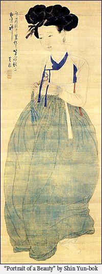 """Portrait of a Beauty by Shin Yun-bok. The woman wears a samjak norigae or triple jewel trinket with maedeup in her hands, a kind of knotting very important in the ornaments of the Joseon dinasty ladies. Los documentos como la """"Colección de Leyes y Regulaciones de la Corte de Joseon"""" revelan que esta actividad artesanal estaba regulada por el gobierno"""