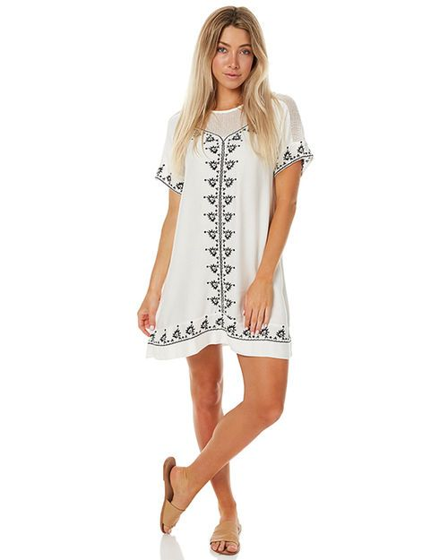 Features: Style: Women's Dress Colour: Ivory Material: 70% Ramie 30% Viscose Shift Dress  Scoop neckline Relaxed fit Short sleeves  Embroidery detail throughout Size + Fit Guide: Model's height measures: 173cm  Model's bust measures: 86cm  Model's hips measure: 86cm  Model's waist measures: 63.63cm  Model wears a Size:8