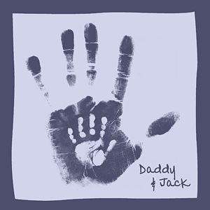 DIY, Father's Day Gift. Daddy's hand in black ink and child's hand