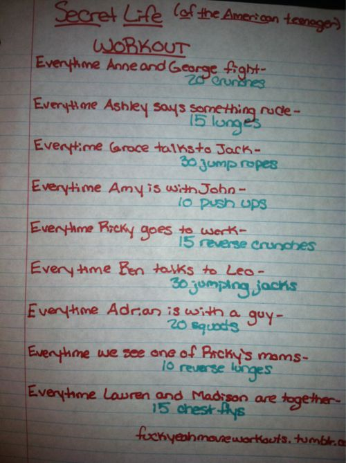 Secret Life of the American Teenager Workout