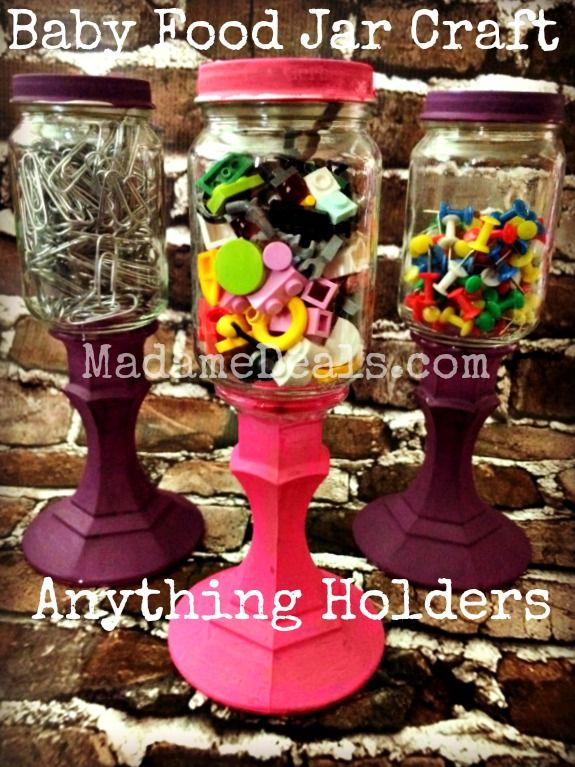 Baby Food Jars Craft: Anything Holders http://madamedeals.com/baby-food-jars-craft-anything-holders/ #inspireothers #crafts