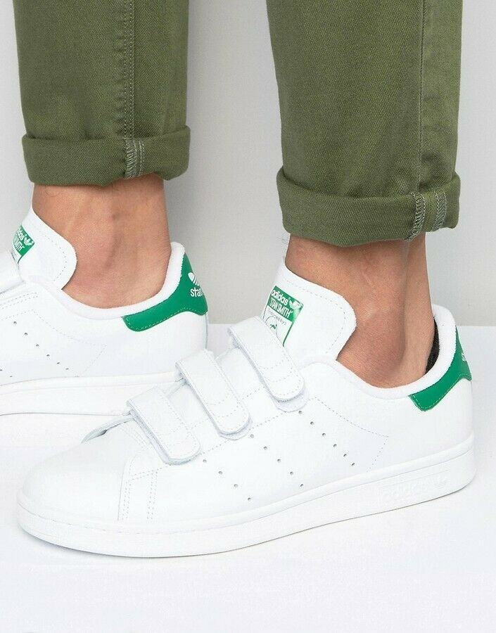 sold worldwide good selling online shop Adidas Men's Originals Stan Smith CF White Green Strap Shoes ...