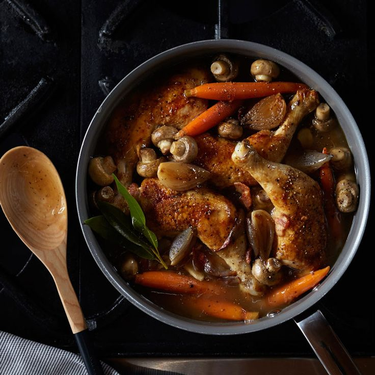 French coq au vin is typically cooked with red wine. Here, however, we've used a dry white wine instead, which results in a brighter dish, coq au vin blanc.