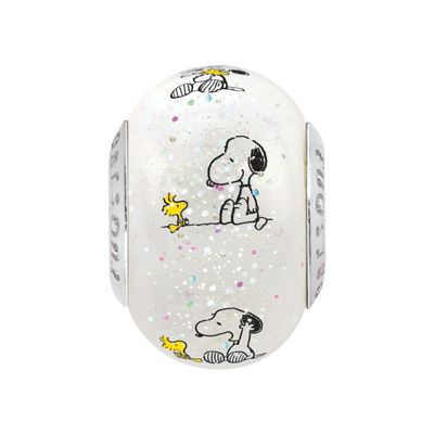 Persona®+Sterling+Silver+Peanuts®+Snoopy+and+Woodstock+Speckled+Glass+Bead