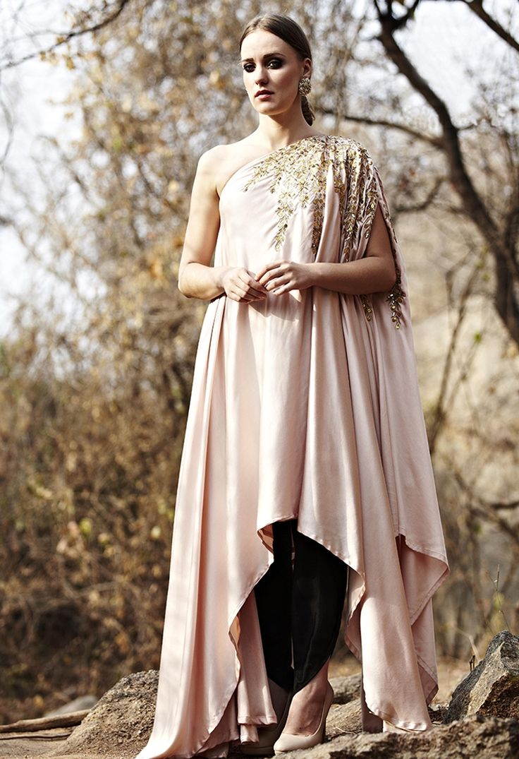 Blush pink leaf embroidered tunic with dhoti pants