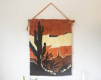 Vintage Handmade Latch Hook Yarn Wall Hanging + Saguaro Cactus Desert + Boho Wall Decor + 70s Retro Art + Southwest Decor + Orange Brown