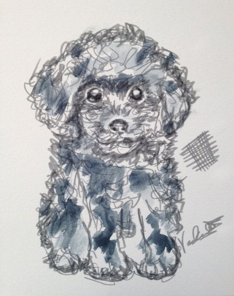 This is from my series I like to call chicken scratch. I used a combination of ink and watercolor to give a modern feel to a classic and beloved pet. This is a copy of the original. It is printed on quality watercolor paper by a professional print shop.