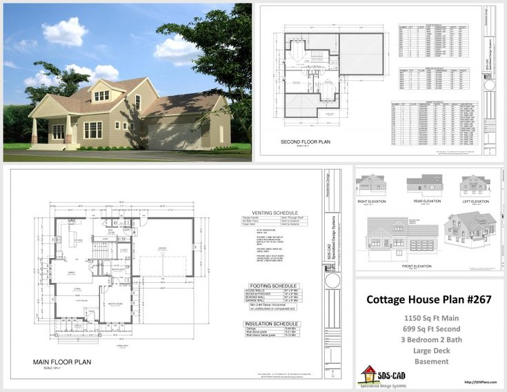 Complete cottage house plans and construction drawings in Autocad house drawings