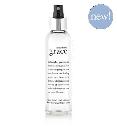 """""""Philosophy"""" Amazing Grace Body Oil Mist.....this is my new favoeite thing,,,,i put it on after i shower and i smell great all day and my tattoos are soooo bright and beautiful...it soaks in so you dont feel greasy at all"""