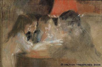 Edelfelt, Albert  Brandtin lapset (Lampun ääressä), 1889