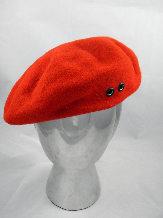 Red Basque Beret  Korean War Era  by by BlackBirdVintiques on Etsy, $25.00