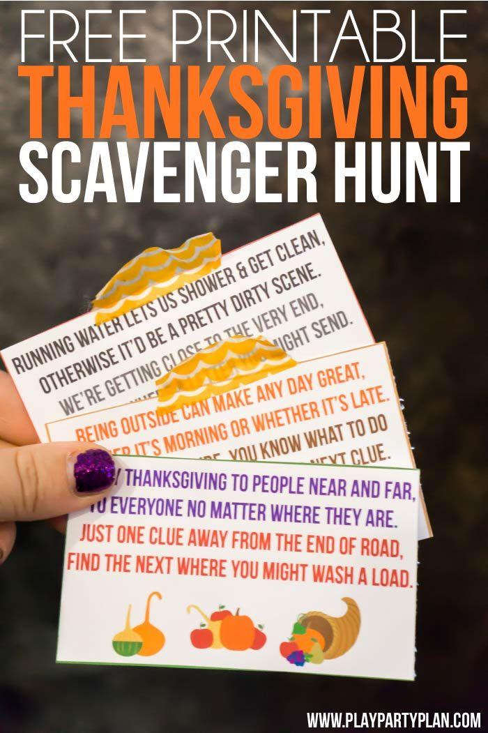 Free Printable Thanksgiving Scavenger Hunt For Kids