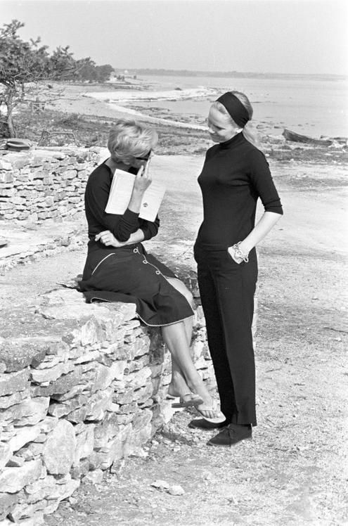 "Bibi Andersson and Liv Ullmann on the set of ""Persona"" (Ingmar Bergman, 1966)"