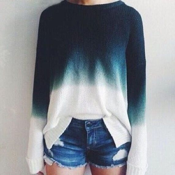 Stitching round neck knit sweater