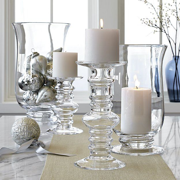 Barlow Clear Glass Pillar Candle Holders   Crate and Barrel