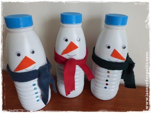 Bricolage bonhomme de neige en recyclant des bouteilles de lait