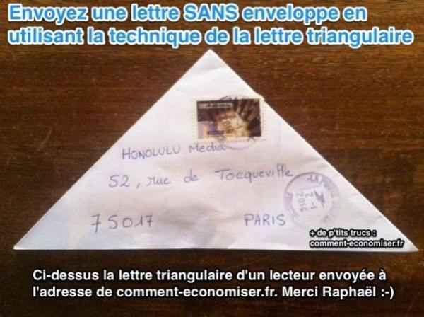envoyer une lettre sans enveloppe avec la lettre triangulaire