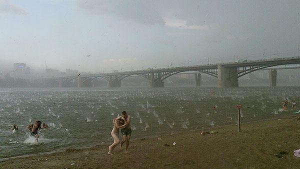 Photo by Nikita Dudnik. Sudden hail storm in Novosibirsk Russia.