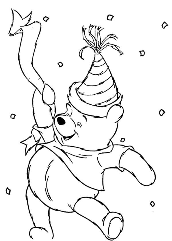 winnie the pooh happy new year coloring page - Pooh Bear Coloring Pages Birthday