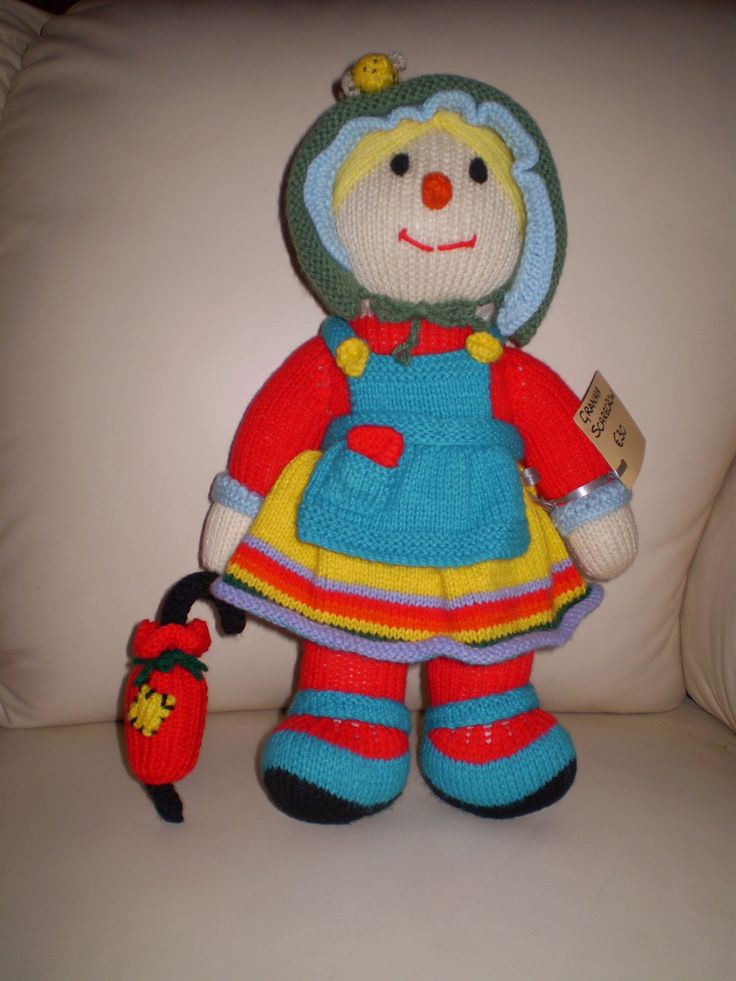 Grandma Scarecrow. 35cms high. All are hand  knitted and child friendly.