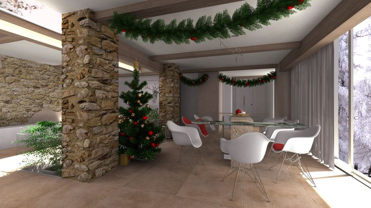 Christmas dining room, virtual image, rendered with DomuS3D® 2017 and V-Ray