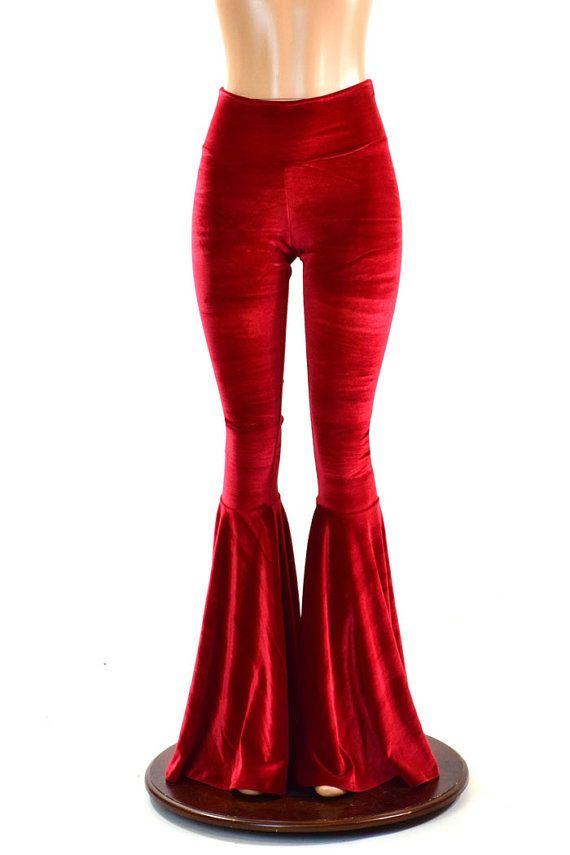 Rode fluwelen Bell Bottom fakkels legging met door CoquetryClothing