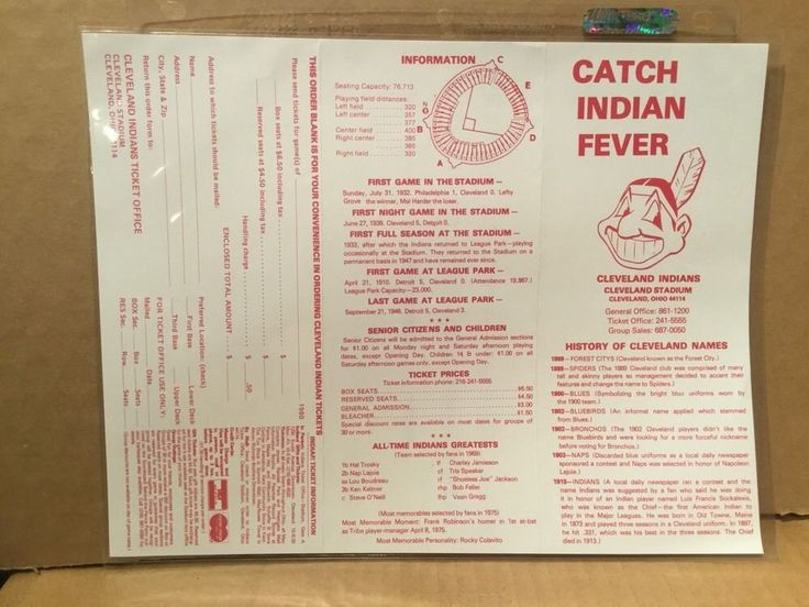 1980 Cleveland Indians Trifold Schedule - Nice!