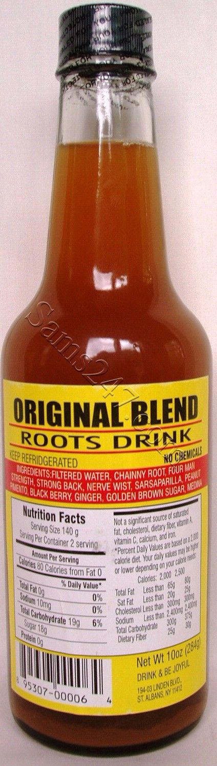 ORIGINAL BLEND ROOTS DRINK 10 OZ.   ORIGINAL BLEND ROOTS DRINK 10 OZ.: available at Sam's Caribbean Marketplace, the Caribbean Superstore for the widest variety of Caribbean food, CDs, DVDs, and Jamaican Black Castor Oil (JBCO).