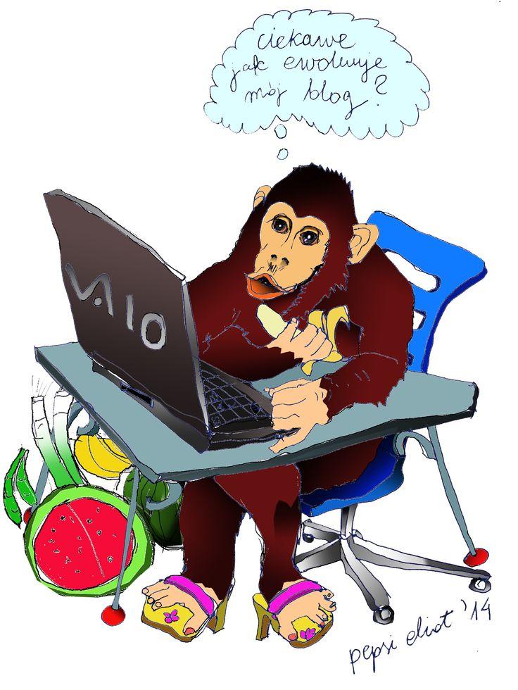 małpa pisze mojego bloga