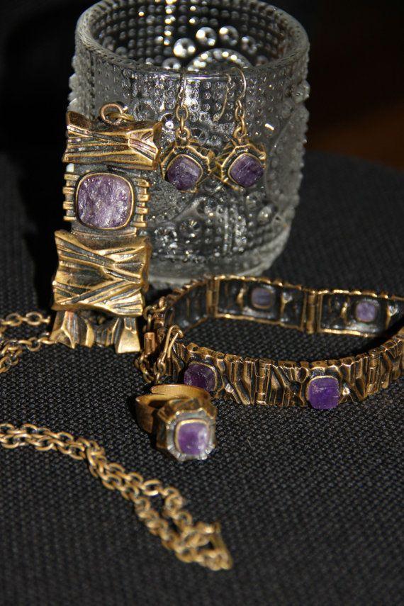 Vintage Bronze Pentti Sarpaneva design jewelery set by Piippana