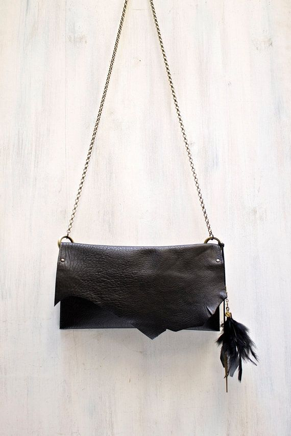 black leather crossbody bag small black purse by AgnesDeJuliisShop