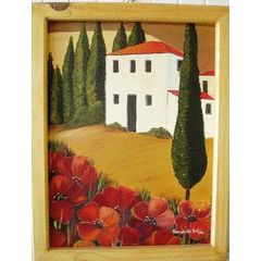 Framed Tuscan villa with poppies painting - 63 x 49 cm for R525.00