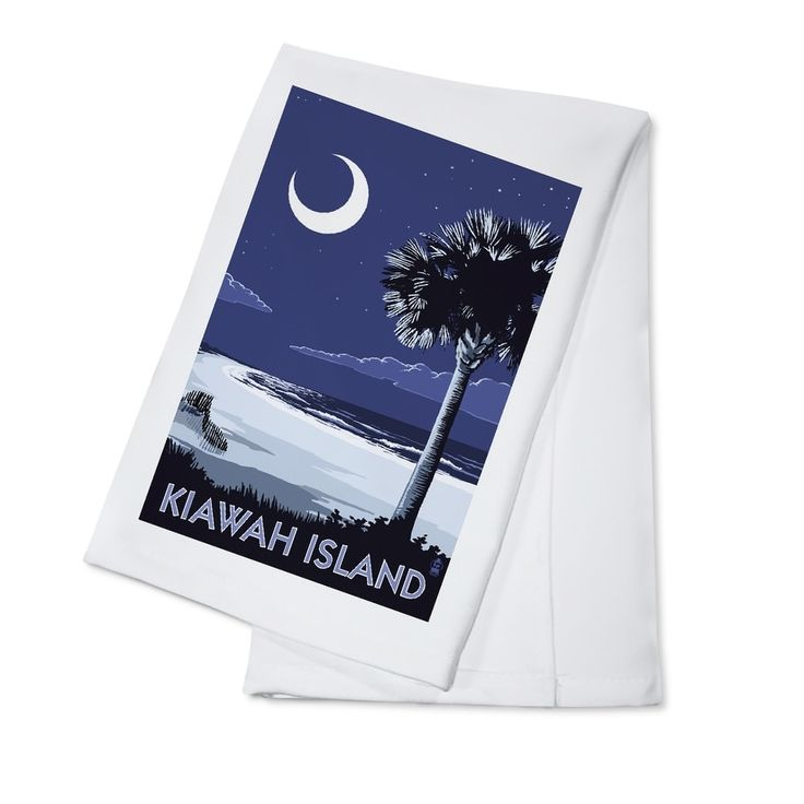 Kiawah Island (Blue), SC - Palmetto Moon - LP Artwork (100% Cotton Towel Absorbent)