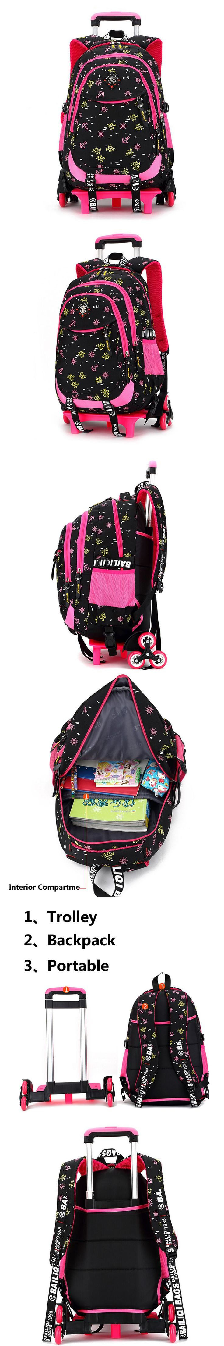 School bag with wheels singapore - Trolley School Bag For Girls 2 Wheels 3wheels Backpack Children Travel Bag Rolling Luggage Schoolbag
