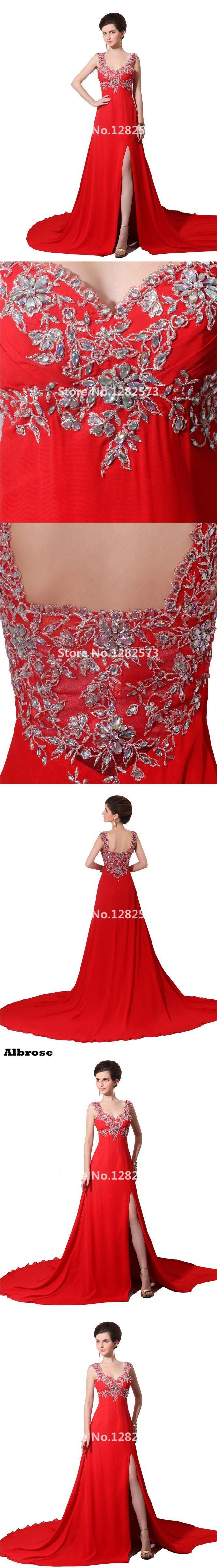 Red Chiffon Sexy Beach Evening Dress 2017 Rhinestone Evening Dresses Long Party Gown vestido de noche Chic robe de soiree